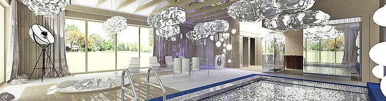 luksusowa hala basenowa - projektowanie wnętrz