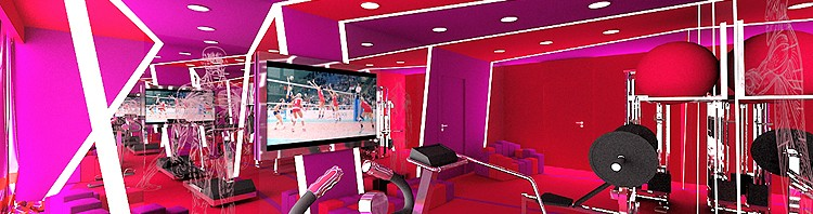 projektowanie wnętrza nowoczesnego fitness