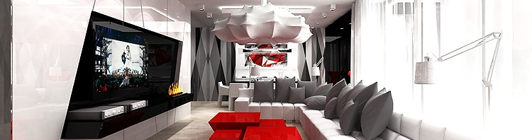 projekt wnętrz nowoczesny salon awangardowy z elementami sztuki artdesign